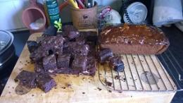 Choc Brownies and marmalade cake