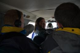 Neil Oliver and us on the plane to Westray